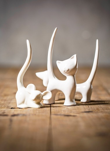 Warm Design Kedi Yüzük Tutucu Beyaz